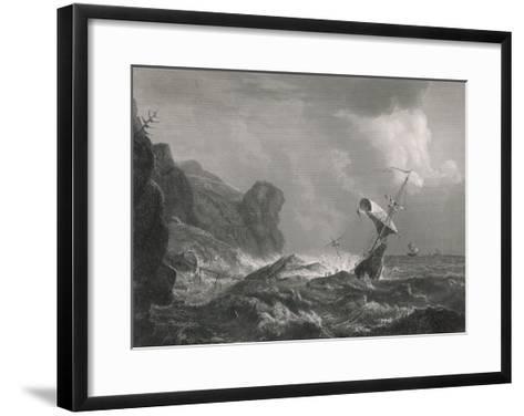 Shipwreck on a Rocky Coastline-T. Heawood-Framed Art Print