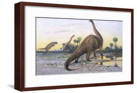 Brontosaurus Attacked by Allosaurus-Wilhelm Kuhnert-Framed Art Print