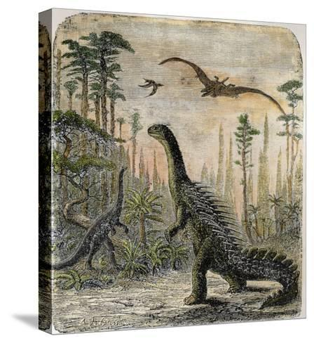 Dinosaurs of the Jurassic Period: a Stegosaurus with a Compsognathus in the Background-A^ Jobin-Stretched Canvas Print
