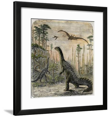 Dinosaurs of the Jurassic Period: a Stegosaurus with a Compsognathus in the Background-A^ Jobin-Framed Art Print