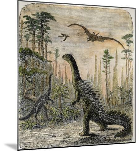 Dinosaurs of the Jurassic Period: a Stegosaurus with a Compsognathus in the Background-A^ Jobin-Mounted Giclee Print
