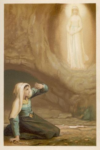 Bernadette Soubirous While Gathering Firewood Suddenly Sees the Virgin Mary in the Grotto- Laugee-Stretched Canvas Print