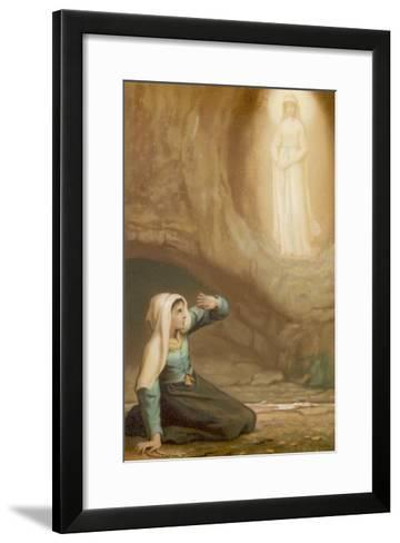 Bernadette Soubirous While Gathering Firewood Suddenly Sees the Virgin Mary in the Grotto- Laugee-Framed Art Print