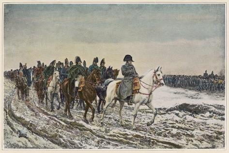 Napoleon at the Head of His Staff During the Campaign of France-Meissonier-Stretched Canvas Print