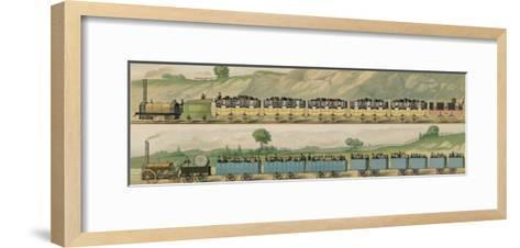 Liverpool-Manchester Railway, Two Passenger Trains with Closed Carriages-Isaac Shaw-Framed Art Print