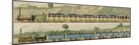 Liverpool-Manchester Railway, Two Passenger Trains with Closed Carriages-Isaac Shaw-Mounted Giclee Print