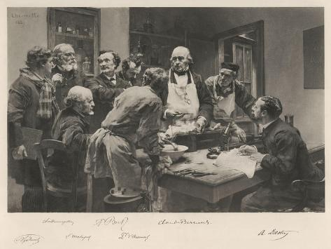 The French Doctor Claude Bernard with a Group of His Colleagues Probably at the College de France- Lhermitte-Stretched Canvas Print