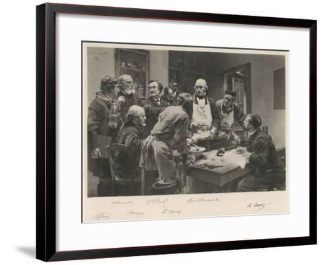 The French Doctor Claude Bernard with a Group of His Colleagues Probably at the College de France- Lhermitte-Framed Art Print