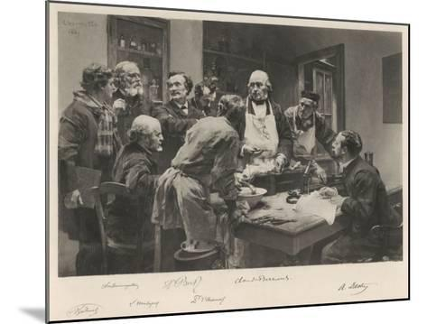 The French Doctor Claude Bernard with a Group of His Colleagues Probably at the College de France- Lhermitte-Mounted Giclee Print