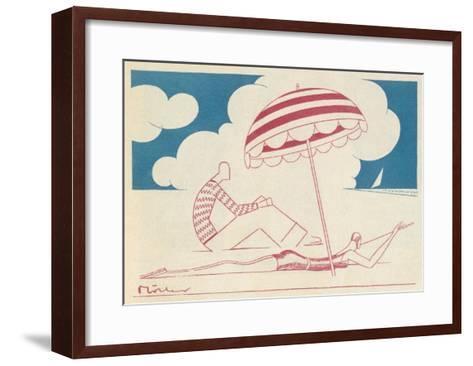 Couple on the Beach-Moller-Framed Art Print