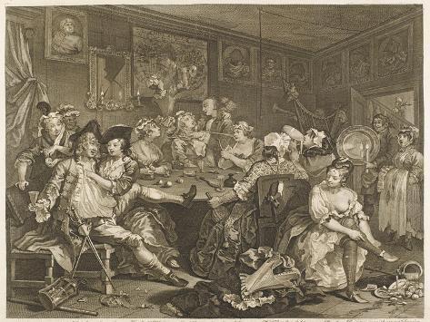 Tavern Scene Illustration to the Rakes Progress-William Hogarth-Stretched Canvas Print
