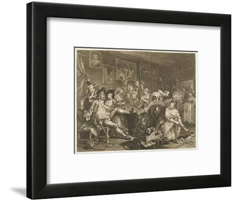 Tavern Scene Illustration to the Rakes Progress-William Hogarth-Framed Art Print