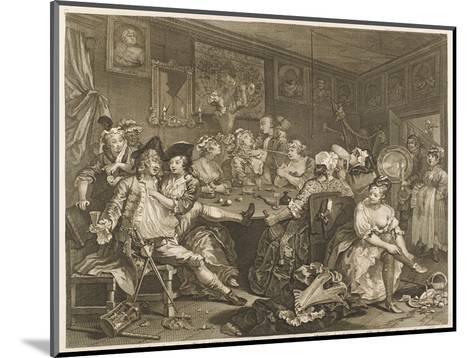 Tavern Scene Illustration to the Rakes Progress-William Hogarth-Mounted Giclee Print