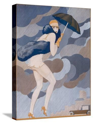 Scantily-Dressed Girl is Caught by a Shower, She Remembered to Bring Her Brolly But Forgot to Put-Jose Lorenzi-Stretched Canvas Print