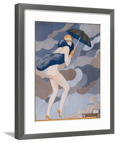 Scantily-Dressed Girl is Caught by a Shower, She Remembered to Bring Her Brolly But Forgot to Put-Jose Lorenzi-Framed Art Print