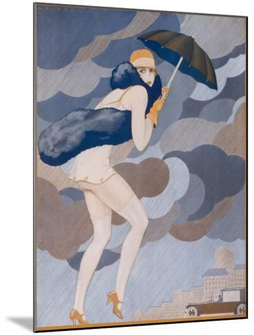 Scantily-Dressed Girl is Caught by a Shower, She Remembered to Bring Her Brolly But Forgot to Put-Jose Lorenzi-Mounted Giclee Print