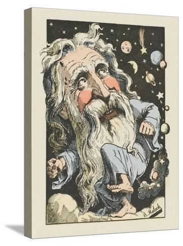 God Surrounded by Stars and Planets- Moloch-Stretched Canvas Print