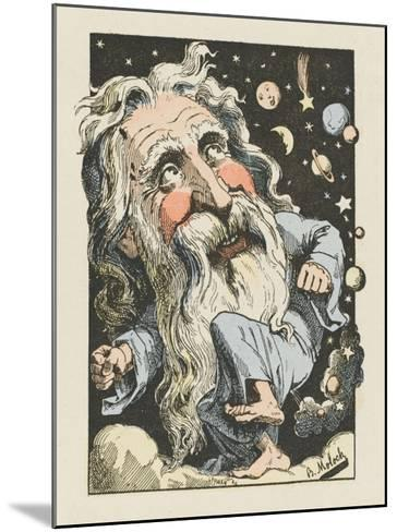God Surrounded by Stars and Planets- Moloch-Mounted Giclee Print