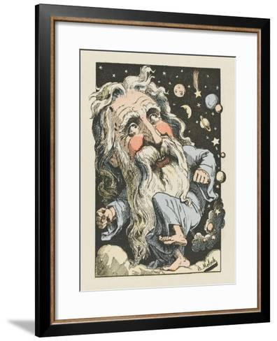 God Surrounded by Stars and Planets- Moloch-Framed Art Print
