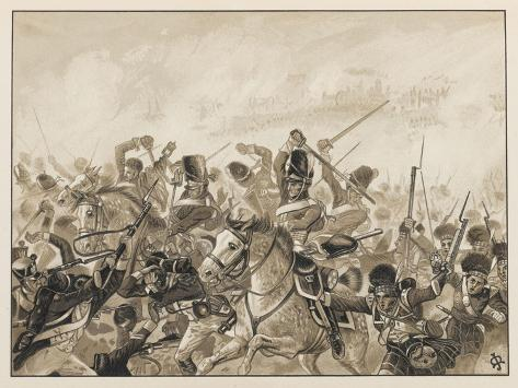 The Scots Greys and the 92nd Regiment in Action-J. Marshman-Stretched Canvas Print