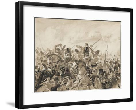 The Scots Greys and the 92nd Regiment in Action-J. Marshman-Framed Art Print