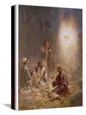 The Angel of the Lord Announces the Arrival of Jesus to the Shepherds-William Hole-Stretched Canvas Print