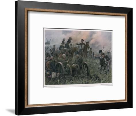 Gneisenau at the Battle of Ligny Where Napoleon Defeats Blucher's Prussians-R Knoetel-Framed Art Print