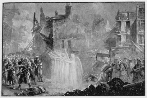 """The So-Called """"Angels of Mons"""" Halt the German Advance at Mons Belgium-Alfred Pearse-Stretched Canvas Print"""