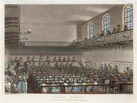 Quakers Meeting in a London Meeting-House-Thomas Rowlandson-Stretched Canvas Print