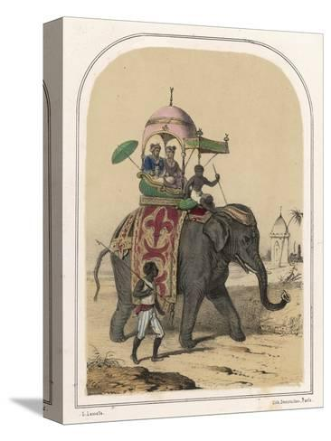 Riding an Indian Elephant in a Howdah-Louis Lassalle-Stretched Canvas Print