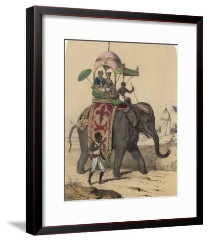 Riding an Indian Elephant in a Howdah-Louis Lassalle-Framed Art Print