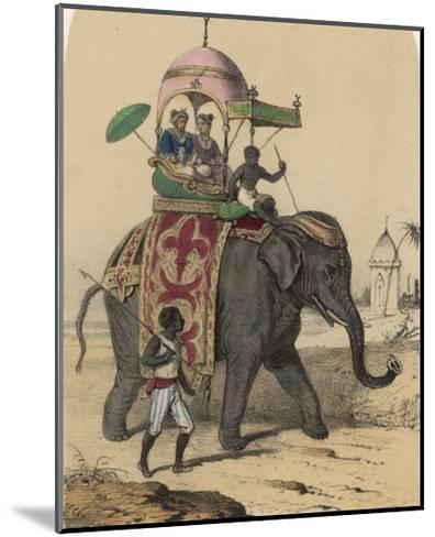 Riding an Indian Elephant in a Howdah-Louis Lassalle-Mounted Giclee Print