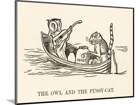 The Owl and the Pussy-Cat Went to Sea in a Beautiful Pea- Green Boat-Edward Lear-Mounted Giclee Print