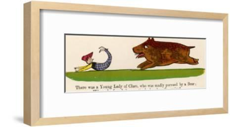 There was a Young Lady of Clare Who was Madly Pursued by a Bear-Edward Lear-Framed Art Print