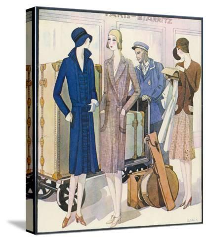 Ladies and Their Luggage Wait on the Platform for a Porter-G. Sacy-Stretched Canvas Print