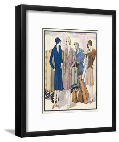 Ladies and Their Luggage Wait on the Platform for a Porter-G. Sacy-Framed Art Print