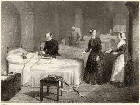 In Scutari Florence Nightingale Assists While a Doctor Puts a Splint on a Patient's Arm- Greatbach-Stretched Canvas Print