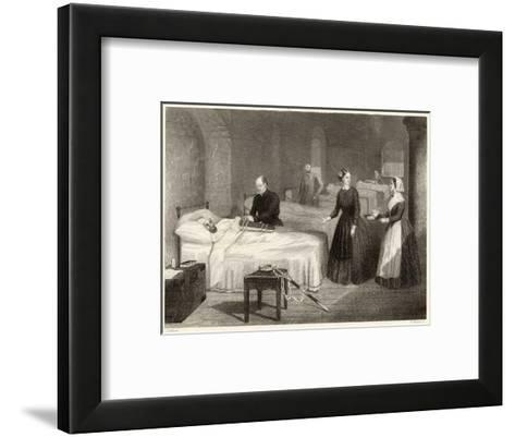 In Scutari Florence Nightingale Assists While a Doctor Puts a Splint on a Patient's Arm- Greatbach-Framed Art Print