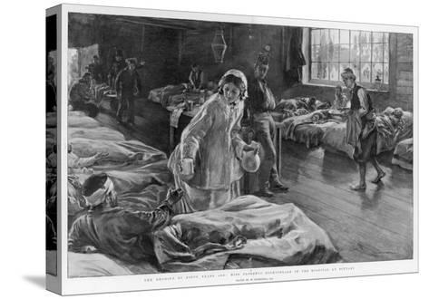In Scutari Florence Nightingale Attends to a Patient-William Hatherell-Stretched Canvas Print