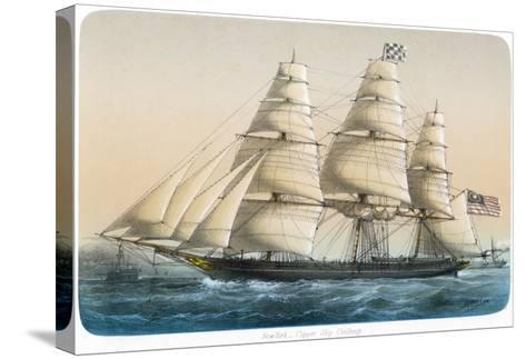 """The American Clipper Ship """"Challenge"""" of New York- Lebreton-Stretched Canvas Print"""