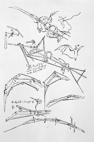 Sketches of Flying Machines-Leonardo da Vinci-Stretched Canvas Print