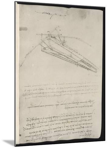 Sketch of a Design for a Flying Machine-Leonardo da Vinci-Mounted Giclee Print