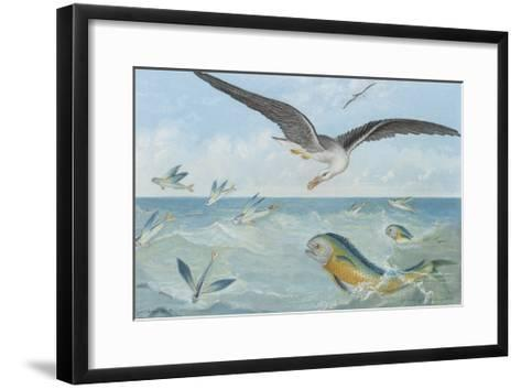An Albatross at Sea Preying on Flying Fish-P. Lackerbauer-Framed Art Print