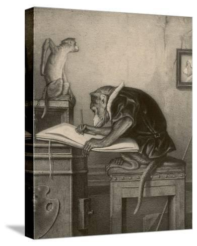 An Extremely Talented Aspiring Monkey Artist Sketches a Less Fortunate Fellow Monkey- Pirodon-Stretched Canvas Print