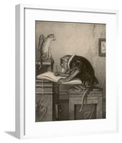 An Extremely Talented Aspiring Monkey Artist Sketches a Less Fortunate Fellow Monkey- Pirodon-Framed Art Print
