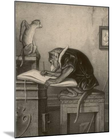 An Extremely Talented Aspiring Monkey Artist Sketches a Less Fortunate Fellow Monkey- Pirodon-Mounted Giclee Print