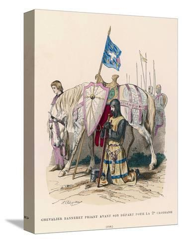French Chevalier Banneret (Horseman Carrying a Banner) Prays Before Leaving for the Second Crusade- Philippoteaux-Stretched Canvas Print