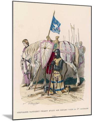 French Chevalier Banneret (Horseman Carrying a Banner) Prays Before Leaving for the Second Crusade- Philippoteaux-Mounted Giclee Print