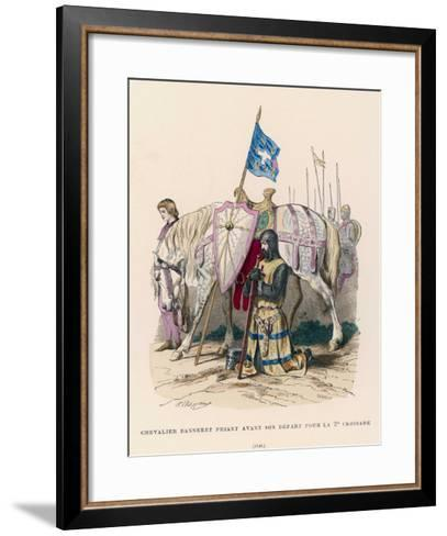 French Chevalier Banneret (Horseman Carrying a Banner) Prays Before Leaving for the Second Crusade- Philippoteaux-Framed Art Print