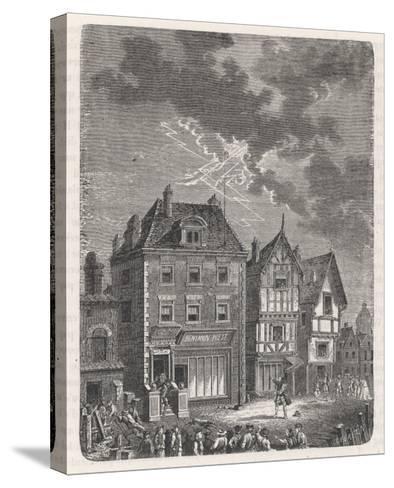Benjamin Franklin's First Lightning Conductor on Benjamin West's House- Lebreton-Stretched Canvas Print